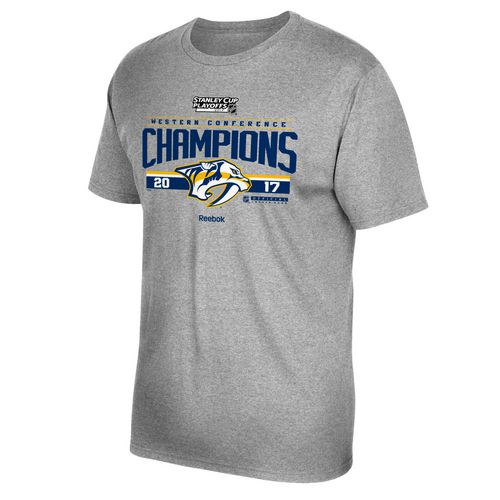 Display product reviews for Reebok Men's Nashville Predators 2017 NHL Western Conference Champs Locker Room T-shirt