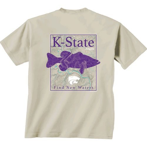 New World Graphics Men's Kansas State University Angler Topo Short Sleeve T-shirt