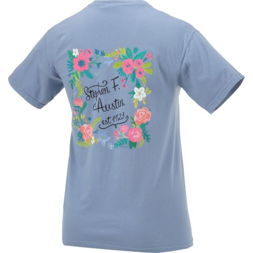New World Graphics Women's Stephen F. Austin State University Comfort Color Circle Flowers T-shi - view number 2
