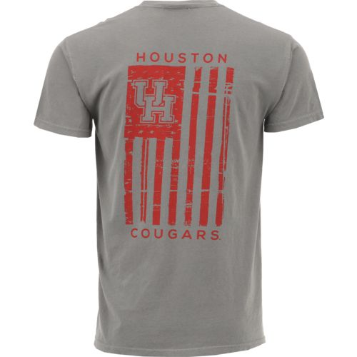 Image One Men's University of Houston Comfort Color Distressed Flag T-shirt