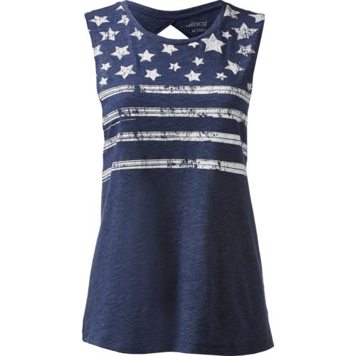 BCG Women's Stars and Stripes Lifestyle Twist Back Tank Top