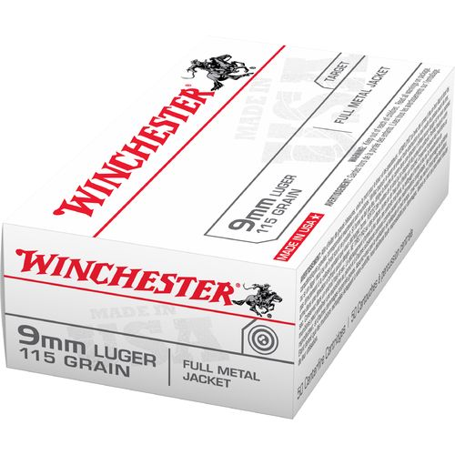 Winchester USA Full Metal Jacket 9 mm Luger 115-Grain Handgun Ammunition