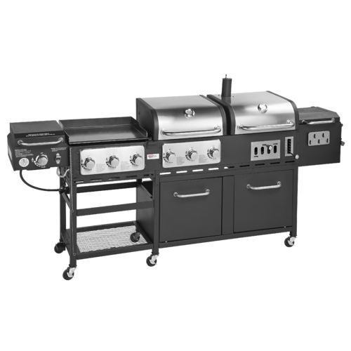 Display product reviews for Outdoor Gourmet Triton Supreme 7-Burner Propane and Charcoal Grill, Griddle and Smoker Combo