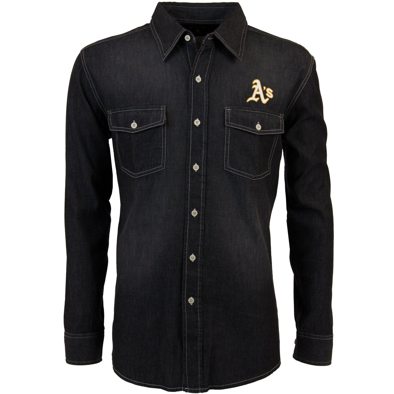 Antigua Men's Oakland Athletics Long Sleeve Button Down Chambray Shirt