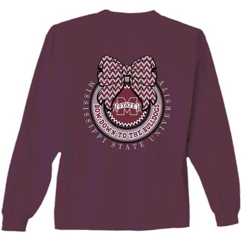 New World Graphics Women's Mississippi State University Ribbon Bow Long Sleeve T-shirt