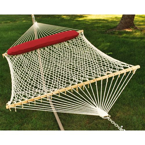 Algoma 2-Point Double Size Cotton Rope Hammock with Oversize Pillow