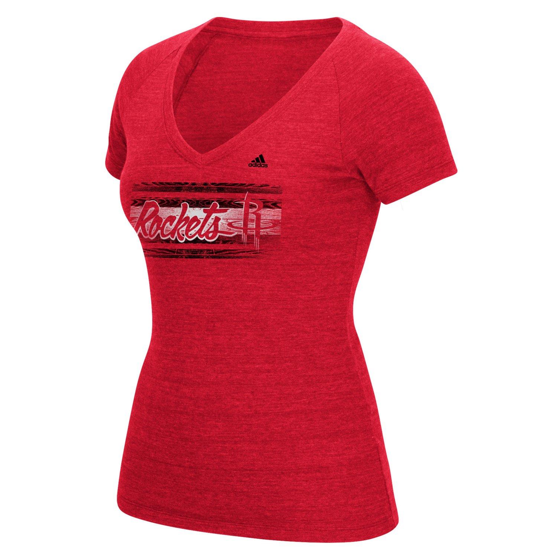 adidas™ Women's Houston Rockets Woodgrain Stripe V-neck T-shirt