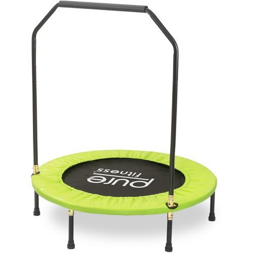 Pure Fitness 40 in Round Mini Rebounder Trampoline with Handrail