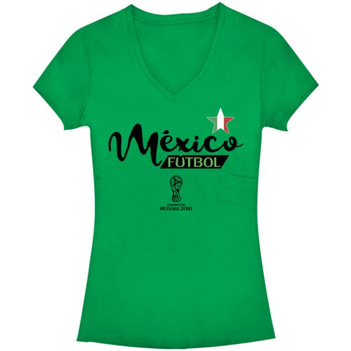 Fifth Sun Women's Mexico Ink FIFA World Cup Russia 2018 V-neck T-shirt