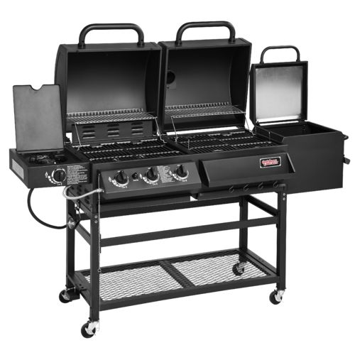 hybrid gas and charcoal grill bbq smoker box combo barbeque burner side portable ebay. Black Bedroom Furniture Sets. Home Design Ideas
