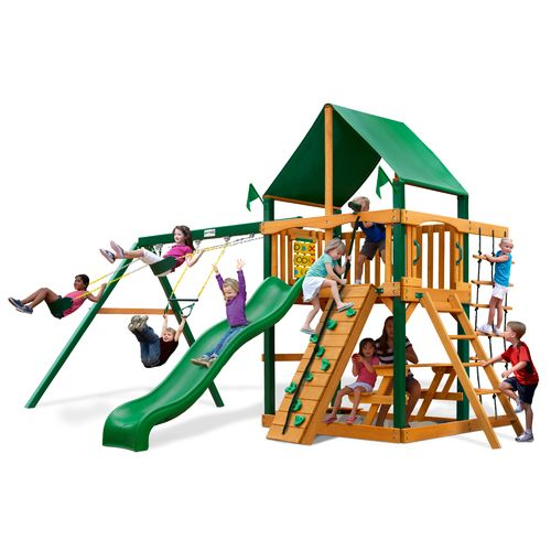 Gorilla Playsets Chateau Swing Set With Timber Shield And Deluxe Vinyl Canopy
