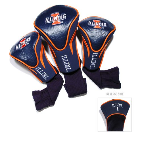 Team Golf University of Illinois Contour Sock Head Covers 3-Pack
