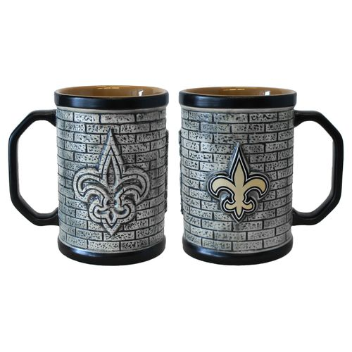 Boelter Brands New Orleans Saints Stone Wall 15 oz. Coffee Mugs 2-Pack