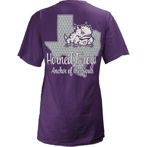Three Squared Juniors' Texas Christian University State Monogram Anchor T-shirt