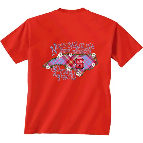 New World Graphics Women's North Carolina State University Bright Plaid T-shirt