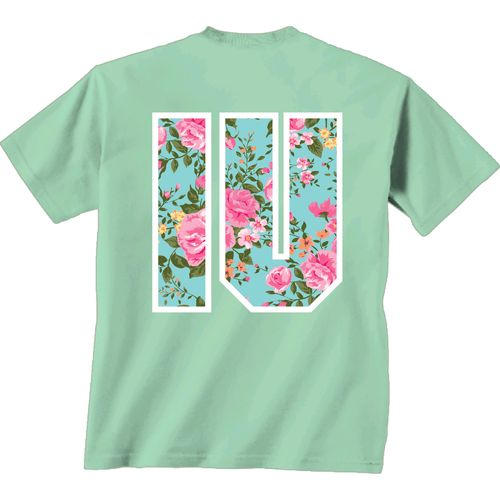 New World Graphics Women's Indiana University Floral Mint T-shirt