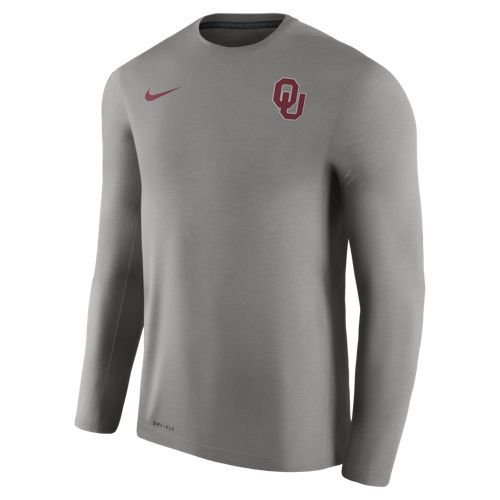 Nike Men's University of Oklahoma Dry Top Coaches Long Sleeve T-shirt