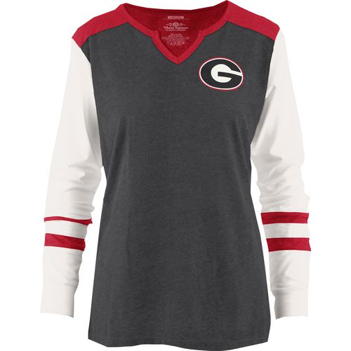 Three Squared Juniors' University of Georgia Mia Raglan Long Sleeve Henley Shirt