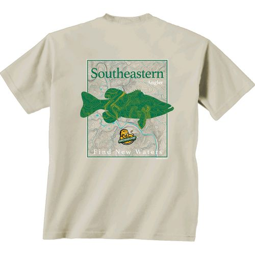 New World Graphics Men's Southeastern Louisiana University Angler Topo Short Sleeve T-shirt