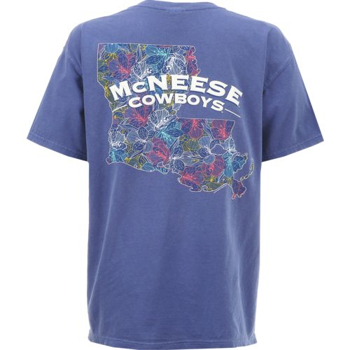New World Graphics Women's McNeese State University Comfort Color Puff Arch T-shirt