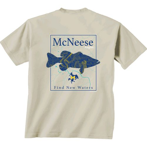 New World Graphics Men's McNeese State University Angler Topo Short Sleeve T-shirt