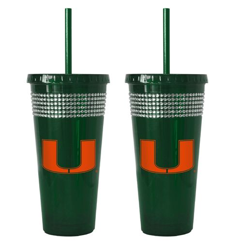 Boelter Brands University of Miami 22 oz. Bling Straw Tumblers 2-Pack