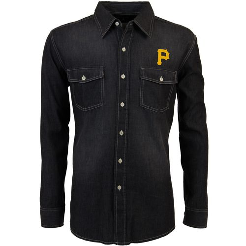 Antigua Men's Pittsburgh Pirates Long Sleeve Button Down Chambray Shirt
