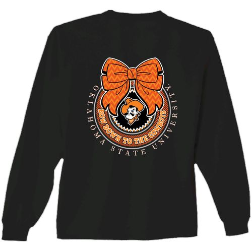 New World Graphics Women's Oklahoma State University Ribbon Bow Long Sleeve T-shirt