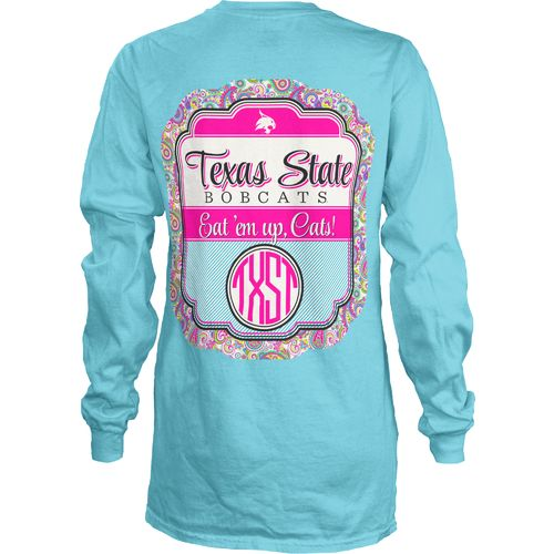 Three Squared Juniors' Texas State University Paisley Frame T-shirt