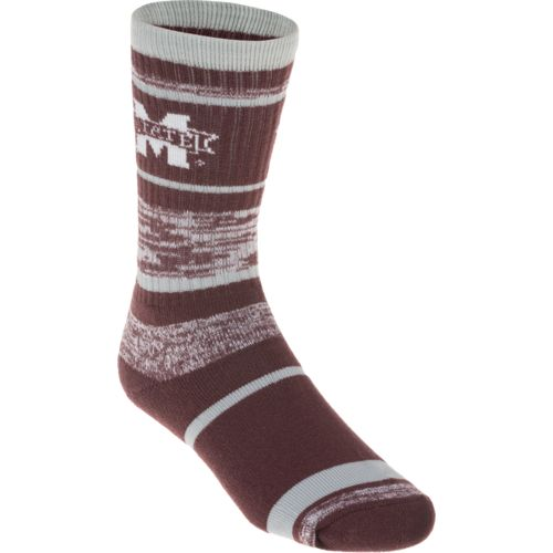 FBF Originals Men's Mississippi State University Striped Crew Socks