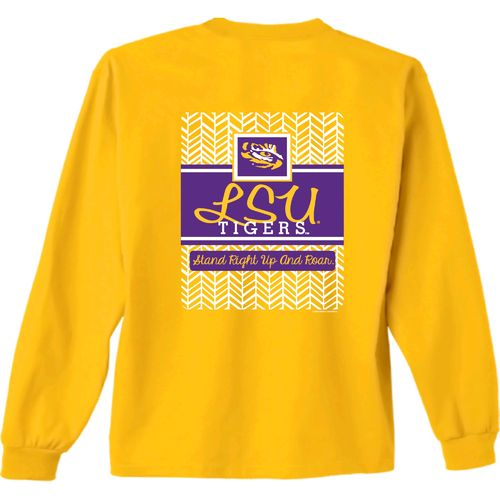 New World Graphics Women's Louisiana State University Herringbone Long Sleeve T-shirt