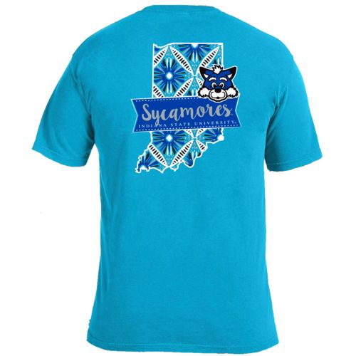 Image One Women's Indiana State University Pattern Scroll State T-shirt