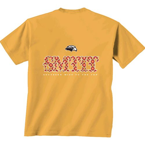New World Graphics Women's University of Southern Mississippi Comfort Color Initial Pattern T-sh