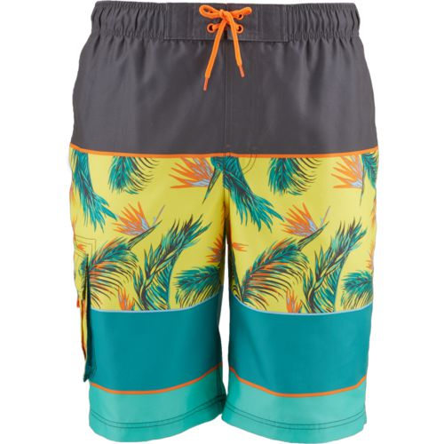 O'Rageous Men's Colorblock Palm Printed Boardshorts
