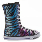 SKECHERS Girls' Twinkle Toes Lighted Sequin High Top Athletic Lifestyle Shoes