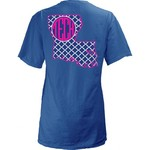 Three Squared Juniors' Louisiana Tech University Quatrefoil State Monogram T-shirt