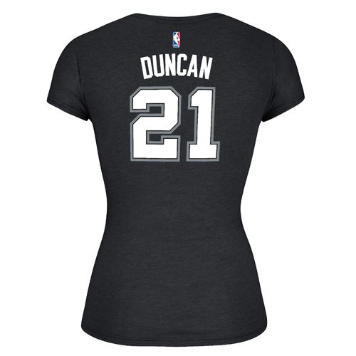 adidas™ Women's San Antonio Spurs Tim Duncan #21 Game Time Cap Sleeve T-shirt