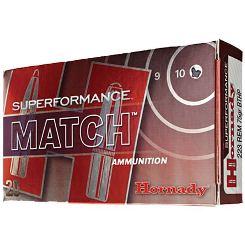 Hornady Superformance Match .223 Remington 75- Grain Centerfire Rifle    Ammunition