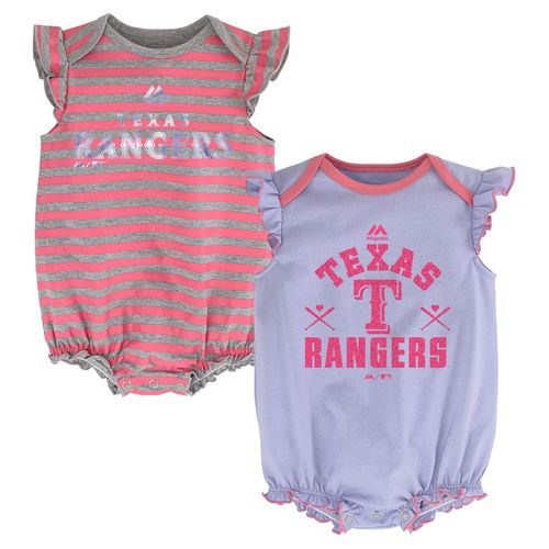 Majestic Infants' Texas Rangers Team Sparkle Creepers 2-Pack