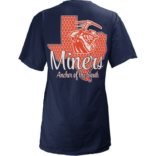 Three Squared Juniors' University of Texas at El Paso State Monogram Anchor T-shirt