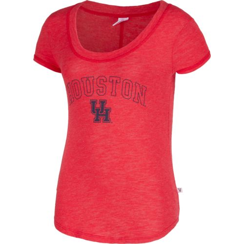 Venley Women's University of Houston Logo Slub Crew Neck T-shirt
