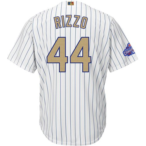 Majestic Men's Chicago Cubs Anthony Rizzo 44 Gold Edition 2016 World Series Champions Cool Base