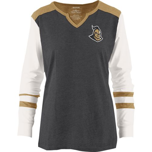 Three Squared Juniors' University of Central Florida Mia Raglan Long Sleeve Henley Shirt