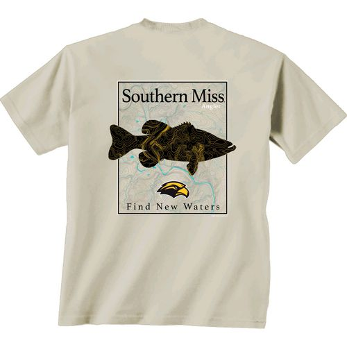 New World Graphics Men's University of Southern Mississippi Angler Topo Short Sleeve T-shirt
