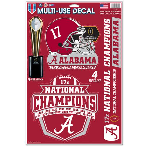 WinCraft University of Alabama 2017 CFP National Champions Multi-Use Decal Sheet