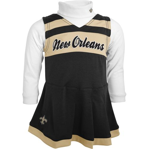 NFL Toddler Girls' New Orleans Saints Cheer Jumper Dress with Turtleneck Set