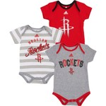 adidas Infants' Houston Rockets 3 Point Play 3 Piece Bodysuit Set