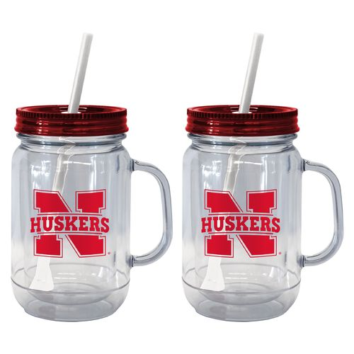 Boelter Brands University of Nebraska 20 oz. Handled Straw Tumblers 2-Pack