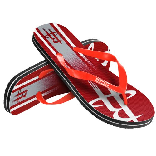 Forever Collectibles™ Kids' Houston Rockets Wordmark Stripe Flip-Flops