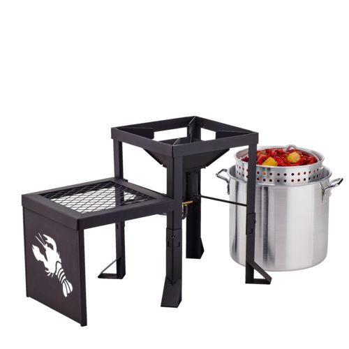 Outdoor Gourmet Double-Burner Propane Fryer and Boiler with Side Table - view number 3